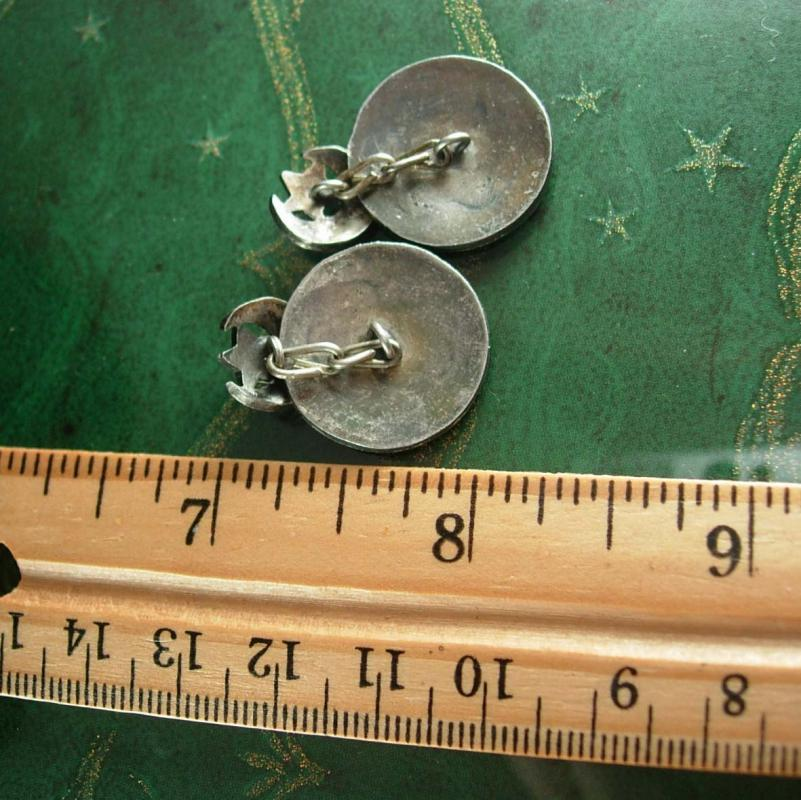 Sterling Persian cuff links Unique Vintage  star Moon cufflinks arabian figural silver black shadowbox Turkish mens one of a kind gift
