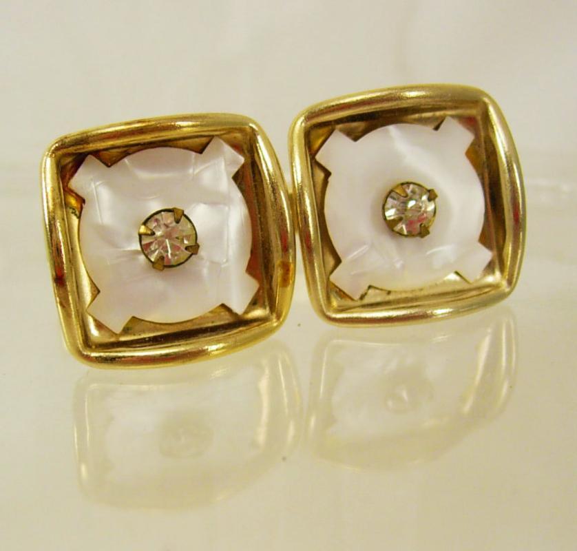 Vintage Faux Diamond cufflinks  Rhinestone MOP Gold   Shadowbox healing stone