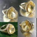 Citrine Cocktail Ring Vintage Sterling Silver Lemon Engagement Size 5 3/4 13th 17th anniversary November gemstone sagittarius scorpio