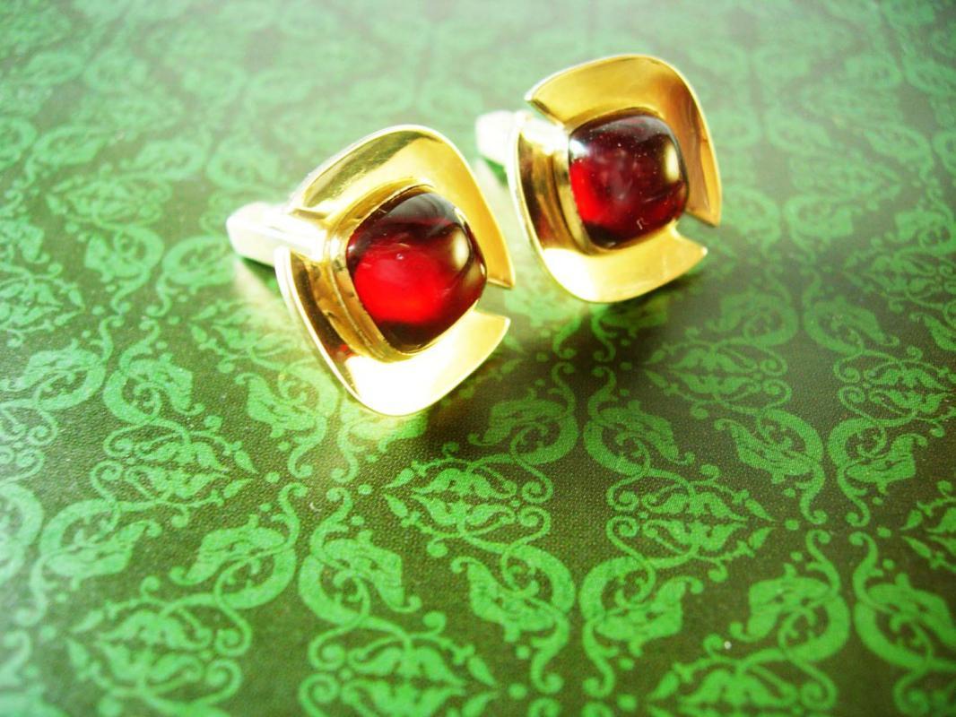 Rich Red Cufflinks Anson Wedding Jeweled Vintage Gold Filled Men's Cuff Links Large Designer Formal Wear Jewelry