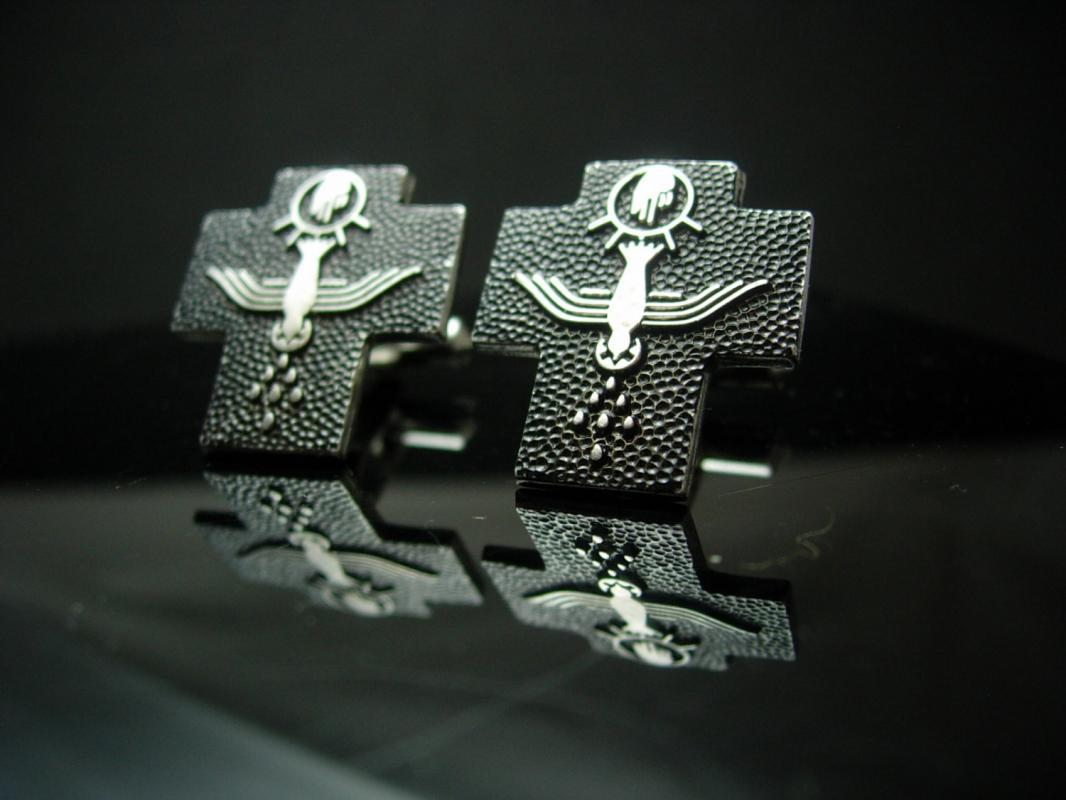 Peace dove Cross Cufflinks Vintage Sterling Silver Communion Cuff  Christian mens Jewelry Holy ghost spirit Pastor gift Catholic religious