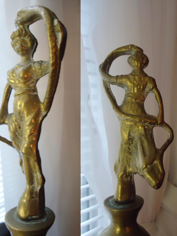 HUGE  brass burner / Snake Charmer / Incense Burner / Egyptian Revival serpent & Lady / Claw foot / vintage Art deco Figural HUGE Censer