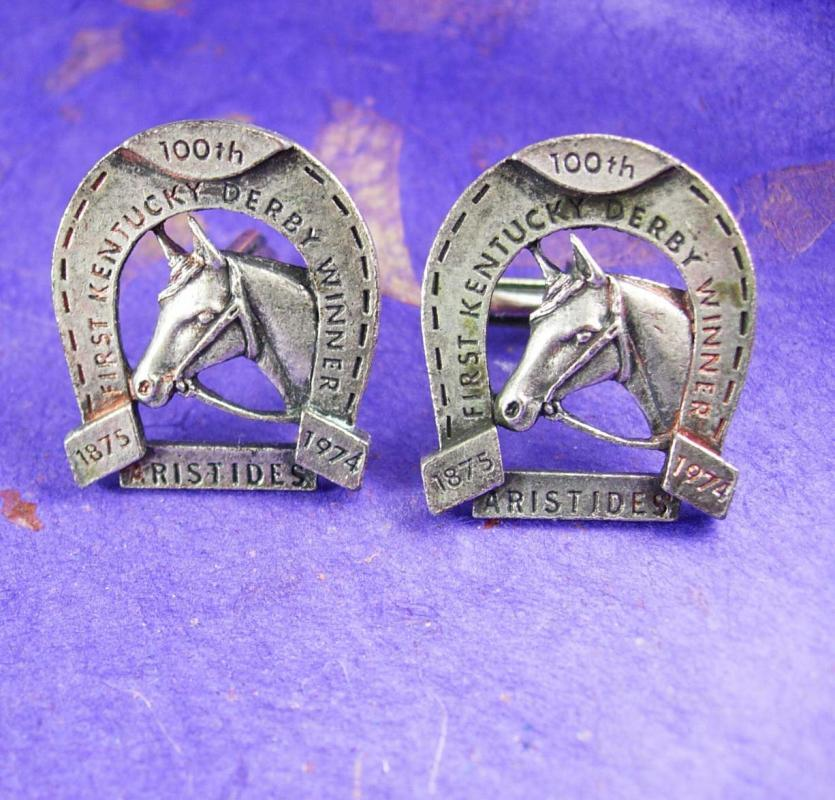 Huge Horseshoe & Horse Cufflinks Vintage First kentucky derby Winner 00th Anniversary 1875 1974 ARISTIDES Cuff link jockey Accessory