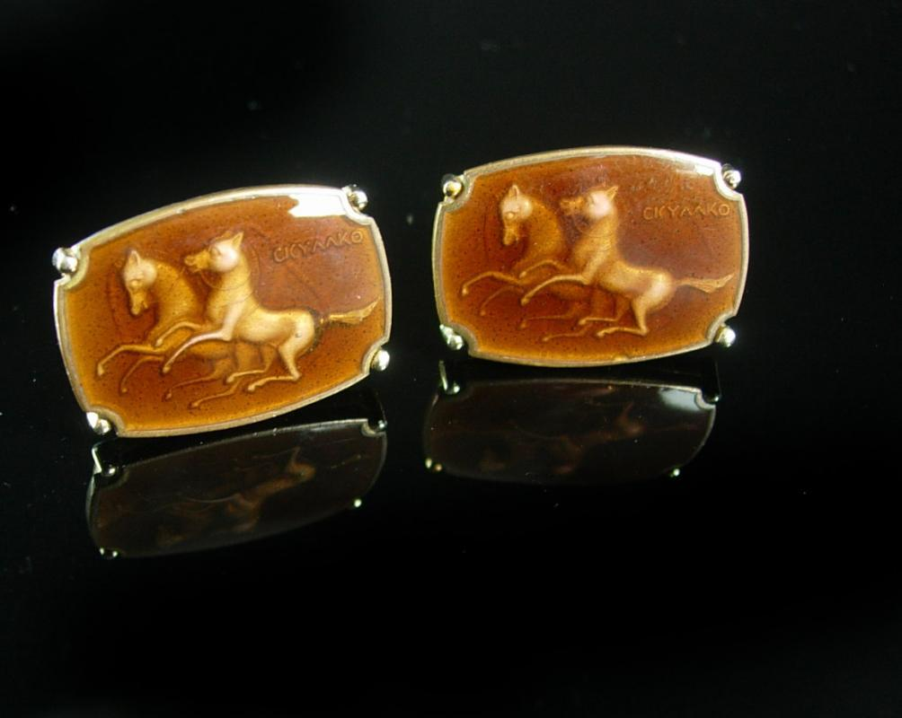 Greek Horse Cufflinks CKYAAKO Vintage Shadow Box Enamel Gold  Renaissance Medieval Fine Jewelry Centurion cuff links