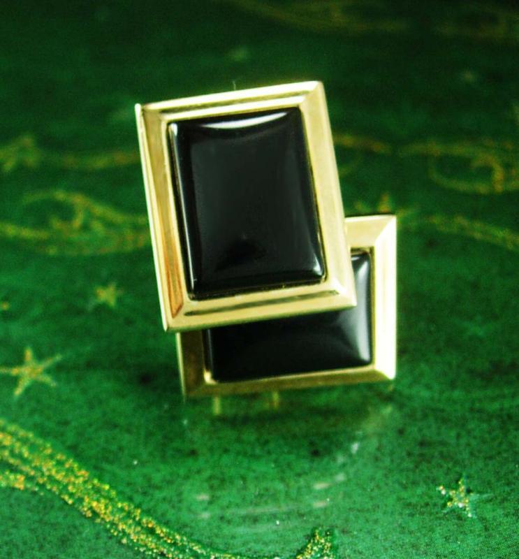 Vintage Black Gold Cufflinks CLASSIC Swank   mens formal wear accessory graduation gift womens jewelry tuxedo cuff links