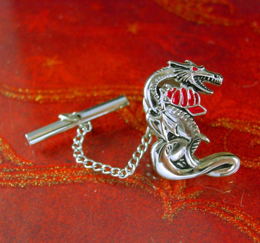 Fireman tie tack Vintage Oriental Dragon with firefighter hat Chinese