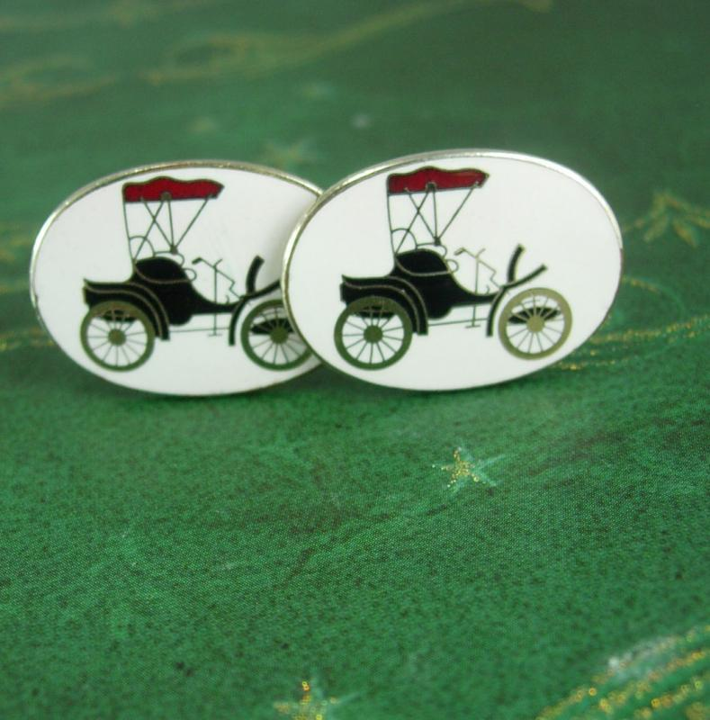 Antique Model T Cufflinks Vintage Car Victorian Automobile Men's Novelty enamel Cuff links car collector silver mnes jewelry convertible