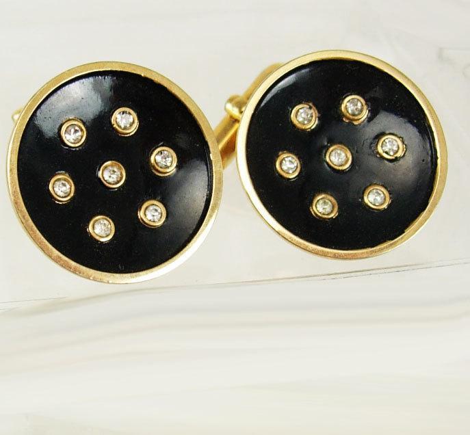 Vintage Faux Diamond Black Cufflinks Goldtone Concave Enamel Birthday Wedding Tuxedo Business Signed Swank