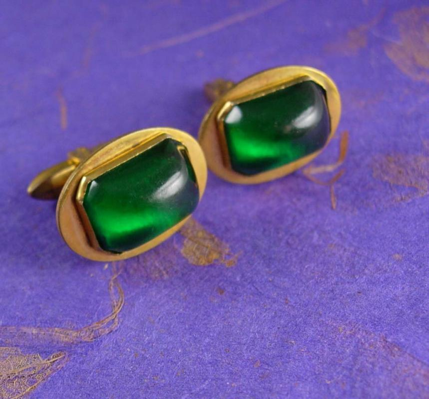 Vintage Green Deco Cufflinks Vibrant Translucent Jewel Heavy golden Brass Base Cuff link Accessory cool gift for men may birthstone