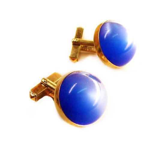 Vintage Large Dome Cufflinks Blue Moonglow Wedding Business cuff links accessory designer Signed Swank gold mens jewelry