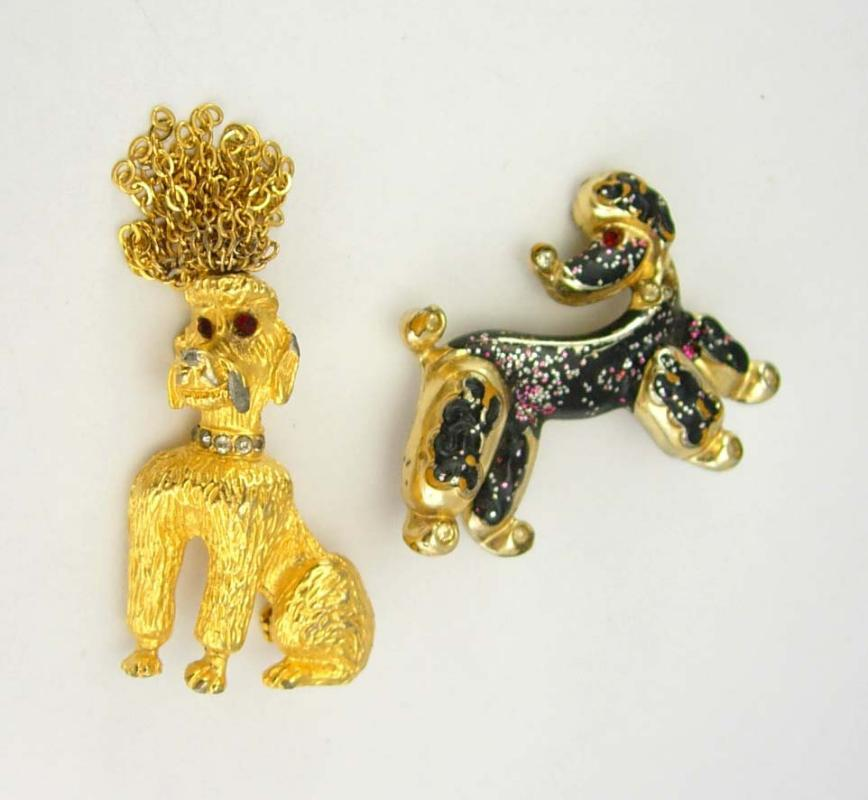 Vintage Dog pins Fancy Poodle Brooches Chain Hair  Party Rhinestones Wedding Birthday Signed R Mandle dog groomer gift