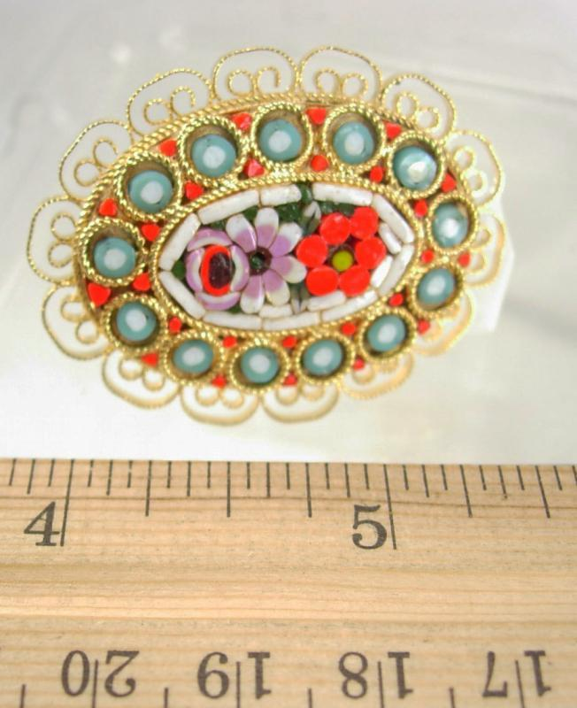 Vintage large micromosaic flower brooch multi colored glass mother of the bride birthday costume jewelry italy mosaic