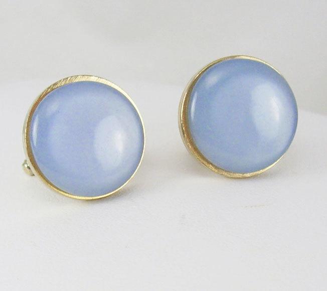 Vintage Baby Blue Moonglow Cufflinks Button Design Goldtone Wedding Business Birthday