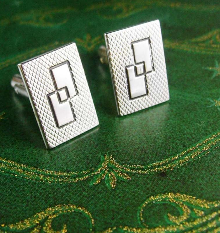 Vintage Eternity Cufflinks interlocking Blank Geometric Shapes for Monogramming Wedding Shields Designer Cuff link mensJewelry