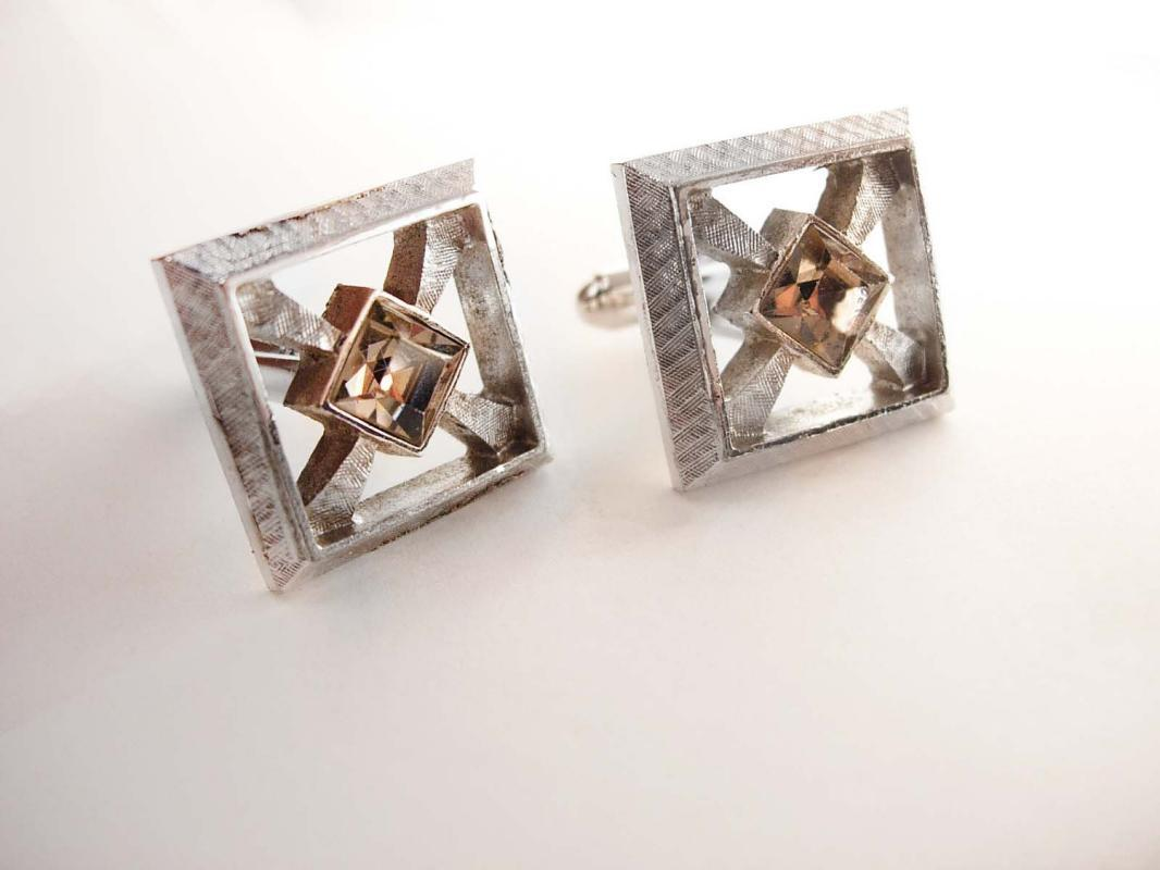Vintage Jeweled Groom Cufflinks Square Cut Wedding Businessman tuxedo set silver cuff links