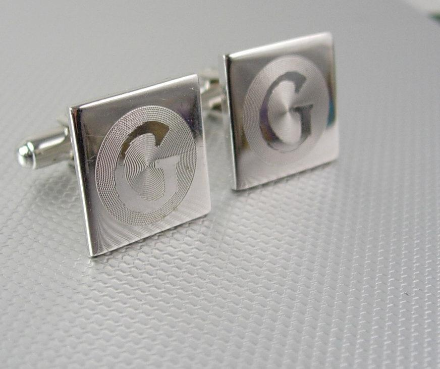 Initial G Cufflinks Vintage silver Monogram Initial Signet Grooved Circular Lines Disco personalized mens gift wedding groom father of bride