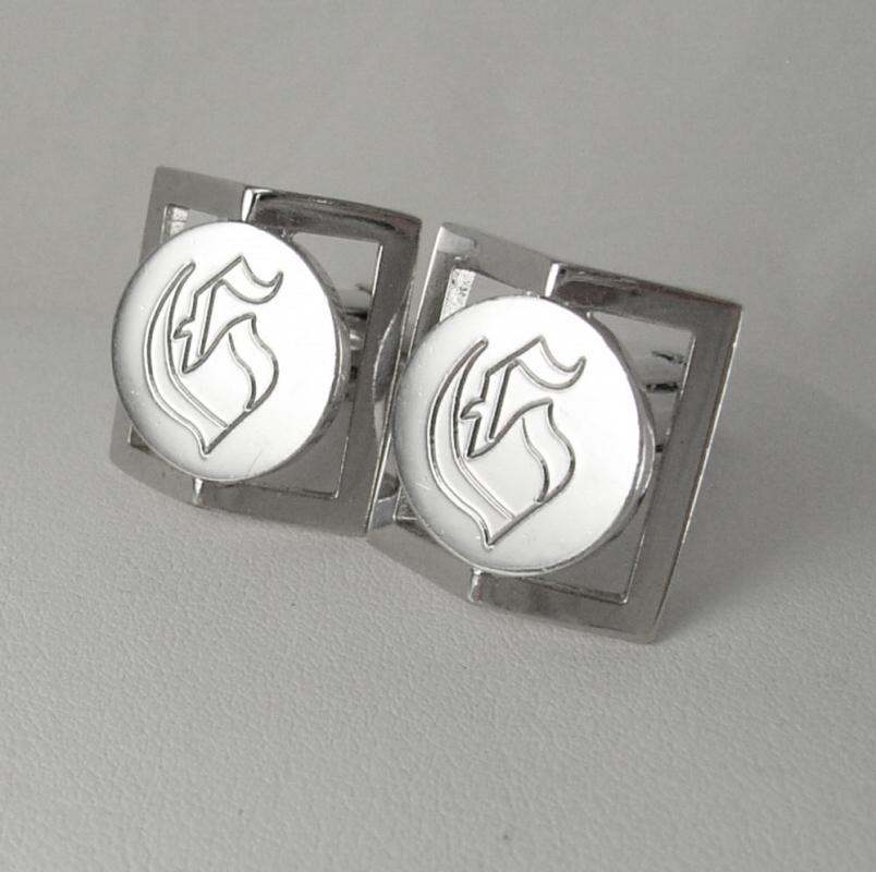 Swank Initial G Cufflinks Vintage Silver Dimensional Design Modernist Engraved Script Lettering Business personalized Anniversary cuff links