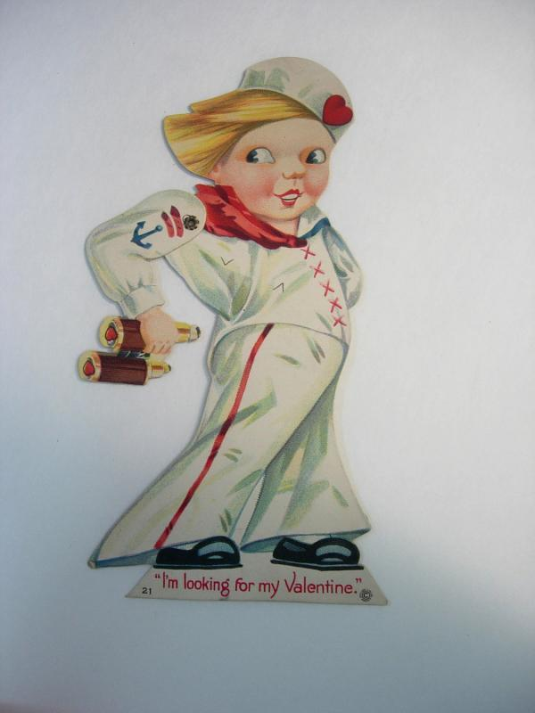 Vintage Die Cut Fold Out Mechanical Paper Doll Valentine Girl Sailor Greeting Card