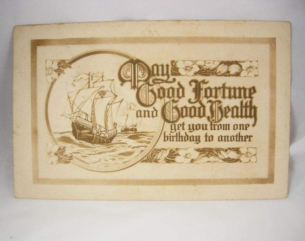 Vintage Good Fortune Birthday Postcard Greetings Good Health The Gibson Art Co Used