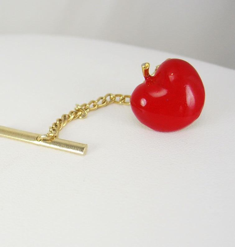 Vintage Red Big Apple Tie Tack Enamel New York Teacher Wedding Birthday Business