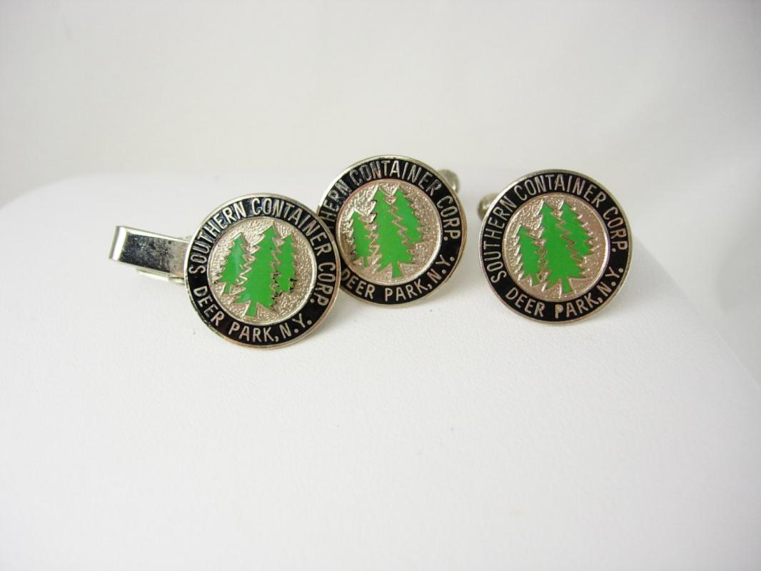 Southern Container Cufflinks Tie Clip Set Vintage Japan Enamel Trees Deer Park NJ Advertising Tie bar