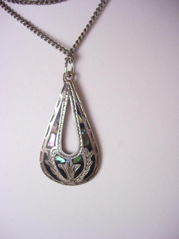 Signed STERLING ABALONE Necklace Vintage Pendant  24