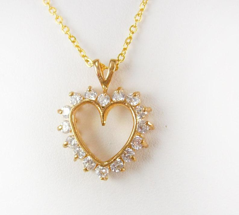 Vintage Rhinestone heart necklace sweetheart  bridesmaid mother of the bride wedding