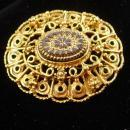 Victorian Style Brooch Vintage etched Cabochon Women's black gold jewelry