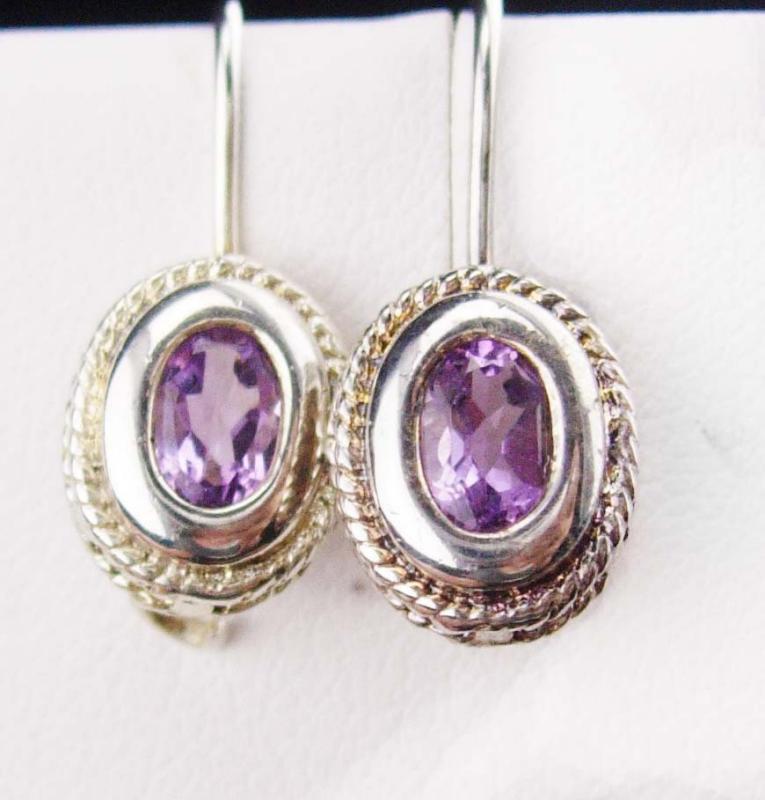 Vintage Amethyst earrings sterling Dangle Drop Earrings Silver Pierced Women's 6th Anniversary Gift Jewelry purple faceted