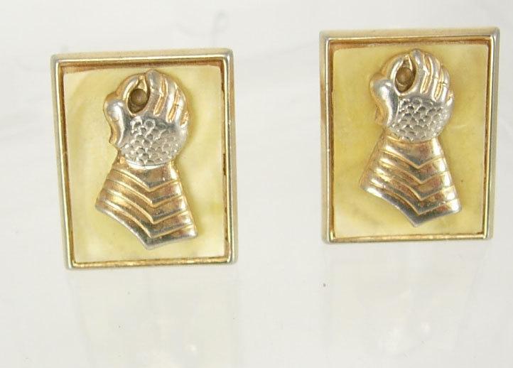 Swank knights gauntlet hand cufflinks Vintage Gold plated medieval gothic renaissance  mop knights glove