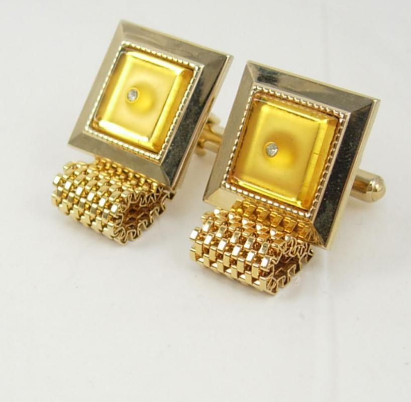 Vintage Wrap Mesh Faux Diamond Cufflinks Goldtone Yellow Lucite Center Birthday Business Wedding Signed Hickok USA