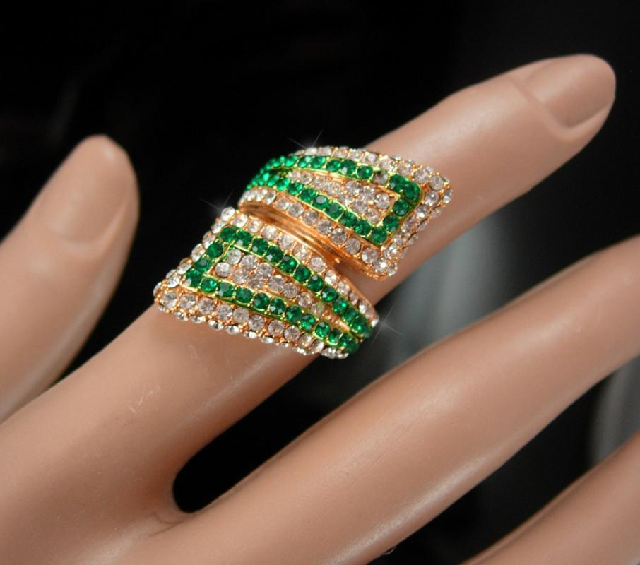 Fairy Wings Ring Green pave rhinestone Signed mystical wrap Statement Brilliant pave sparkle goddess ring SIZE 5