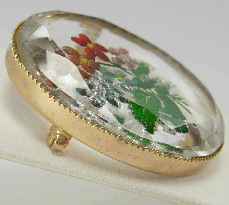 Vintage Hand Painted Brooch Reverse Memento Flower Cut Glass Wedding Business