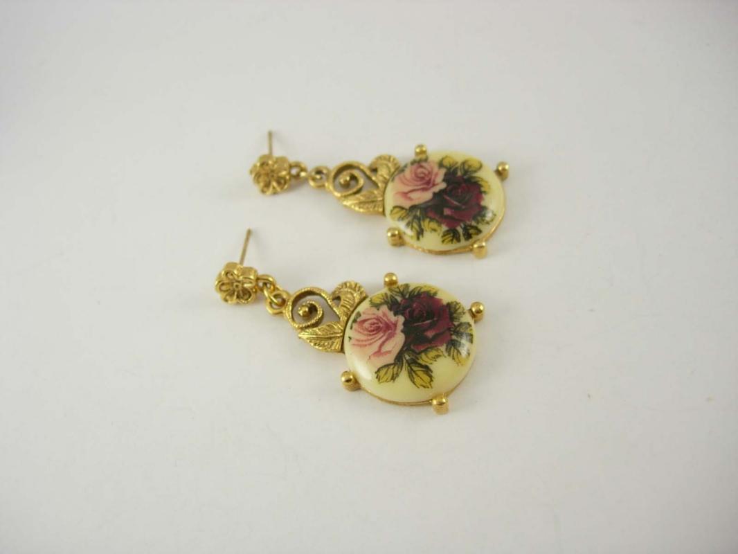 Vintage Hand Painted Earrings Flower Dangle Wedding Business Birthday 1928