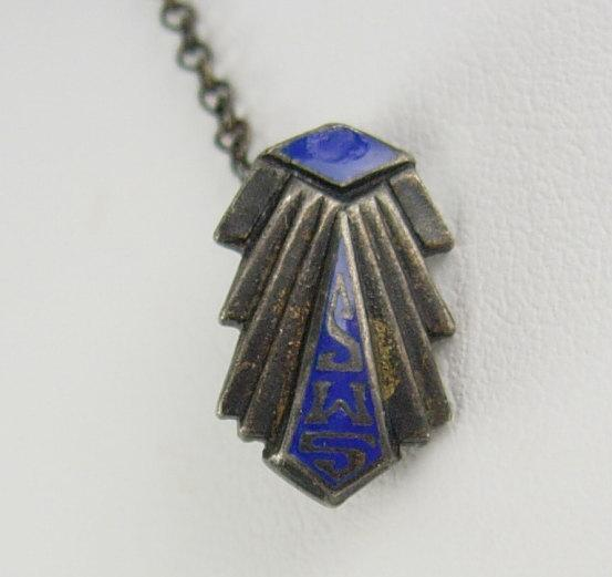 Fraternal College SWS 1944 Pin Sterling Vitreous Blue Enamel Birthday Business