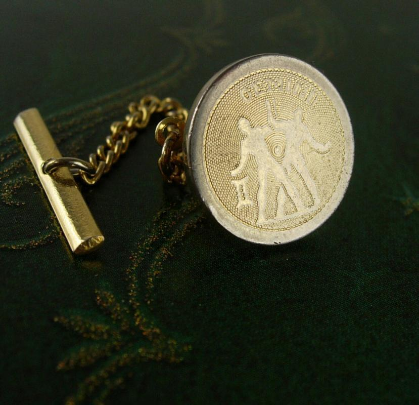 Gemini Astrology Twins Gold  Tie Tack with Chain Sign of the Zodiac Wedding