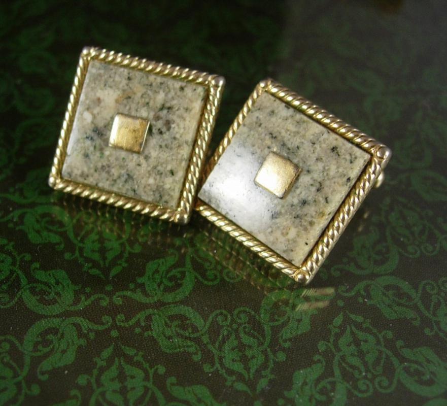 Earthtone Granite Cufflinks Vintage Olive Green Anson Gold polished stone  Colors igneous Rock Mystic geek hipster jewelry