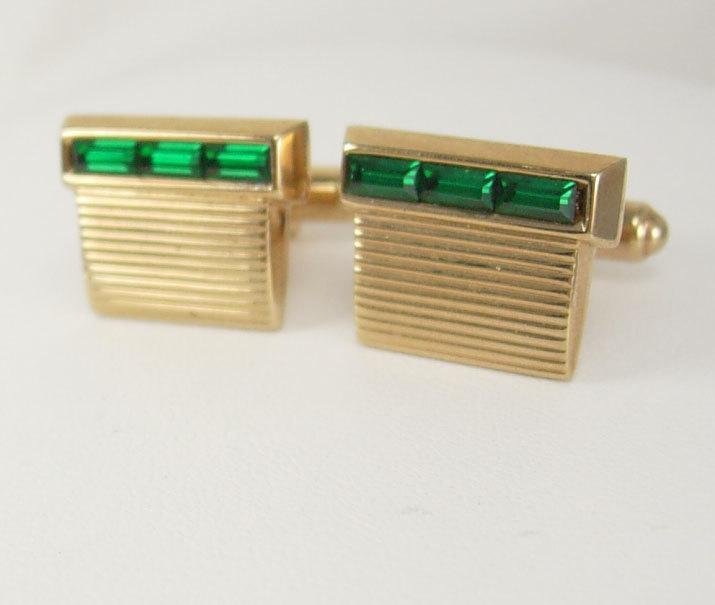 Vintage Emerald Baguettes Cufflinks Green Grillwork Birthday Business Wedding Signed Hickok USA MAY BIRTHSTONE