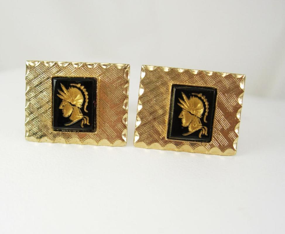 Vintage Cuff links Roman Head Intaglio cameo Cufflinks Gold Black Centurion