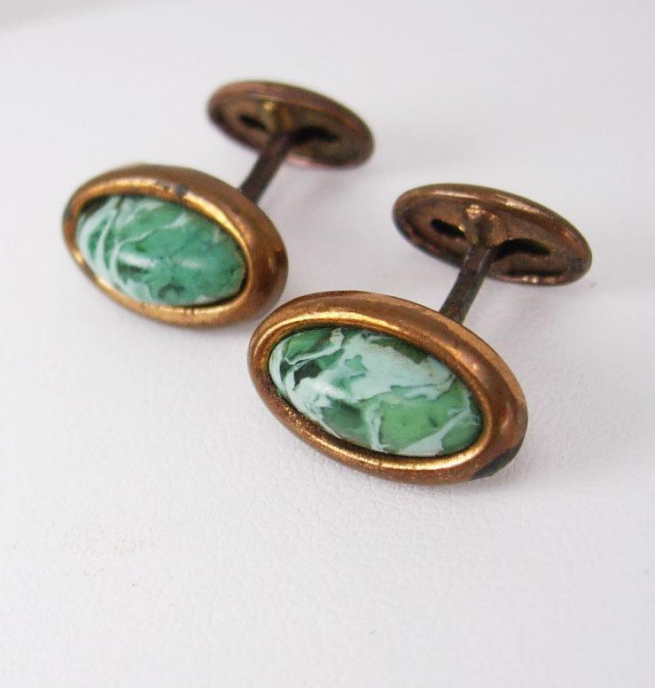 Antique Victorian Cuff links Green Slag Cufflinks Copper Birthday Business Wedding