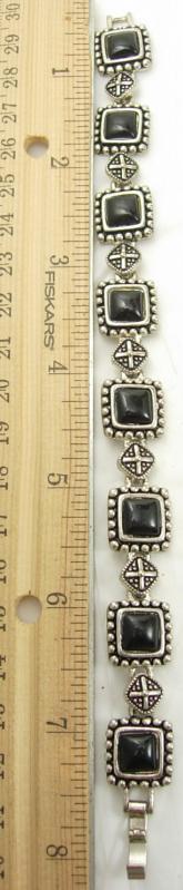 Black Etruscan Gothic Bracelet Vintage Fancy Bead Design Holiday Birthday Wedding