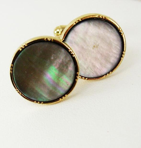 Vintage Goldtone Abalone Cufflinks Round Birthday Business Wedding Signed Anson Marked AS