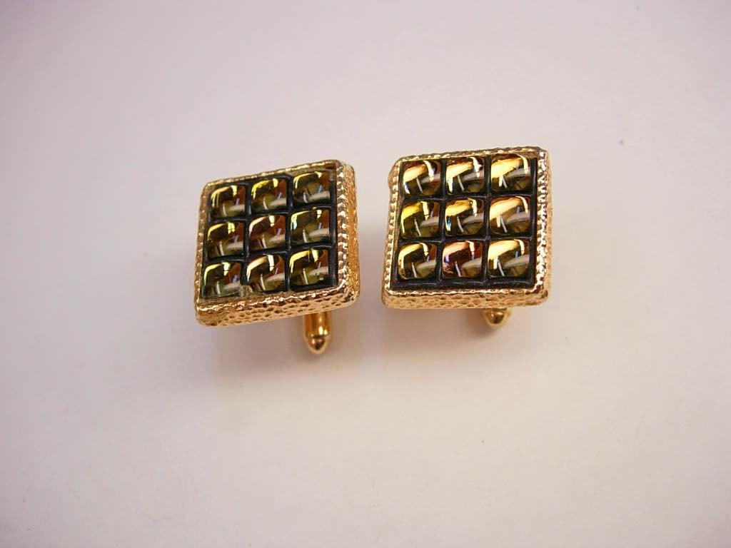 Disco Cuff links * Vintage Bubble Glass Cufflinks * Spider Eyes * hipster Wedding *designer Signed Anson * gold mens jewelry