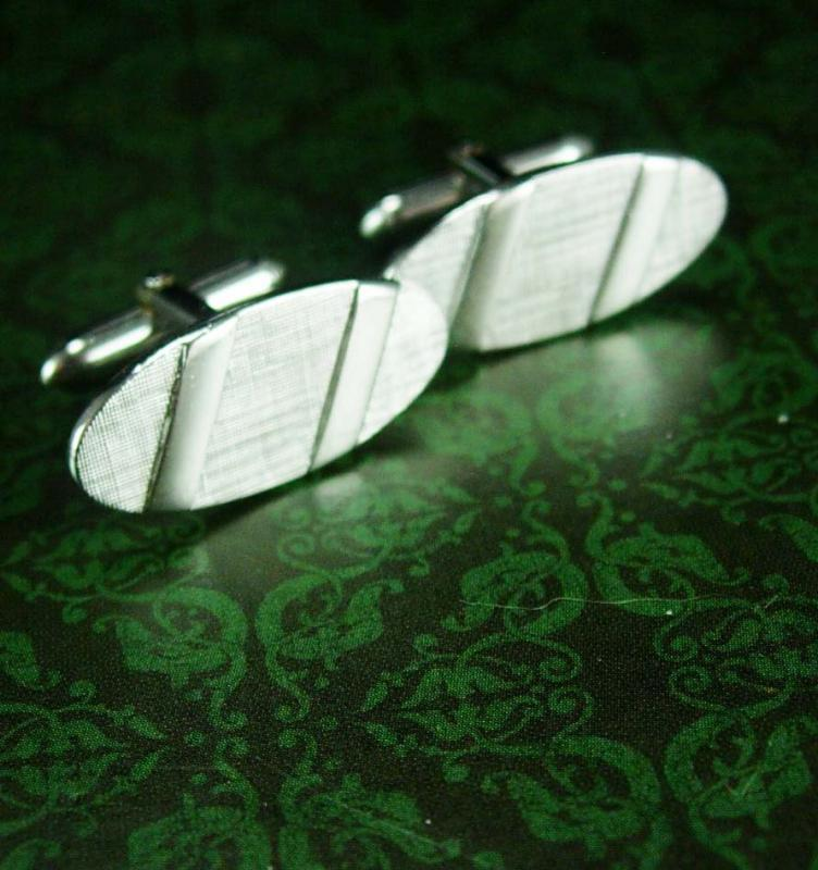 Tuxedo cufflinks / Wedding jewelry / Signet jewelry / Vintage silver jewelry / Anson / swank / graduation gift / father of bride Tie bar