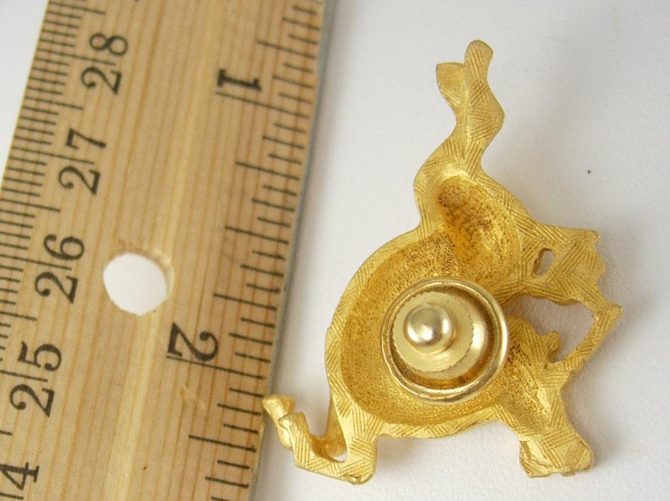GOld Rhinestone Unicorn Tie Tack Vintage Lapel Pin Pegasus Mystical Mythology Fantasy