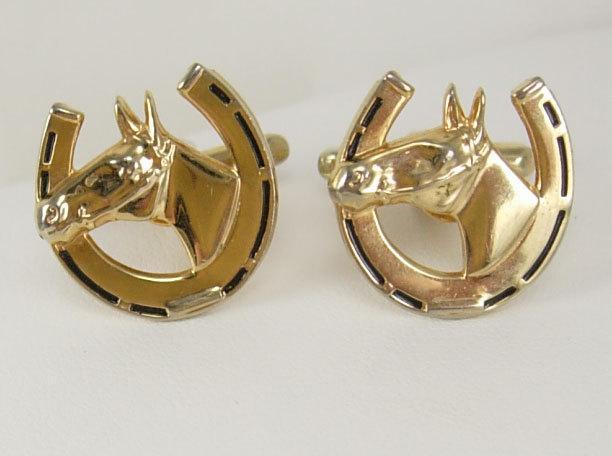 Vintage Horse Shoe Head  Cufflinks Black Enamel Lucky Gambler gift Birthday Business Wedding Equine Signed Hickok USA