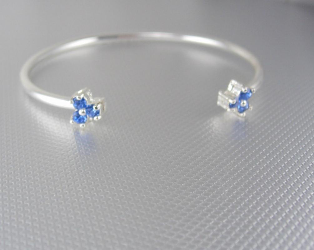 Vintage cuff bracelet / silver bangle / Blue Rhinestones / girls  Birthday Friendship Valentines