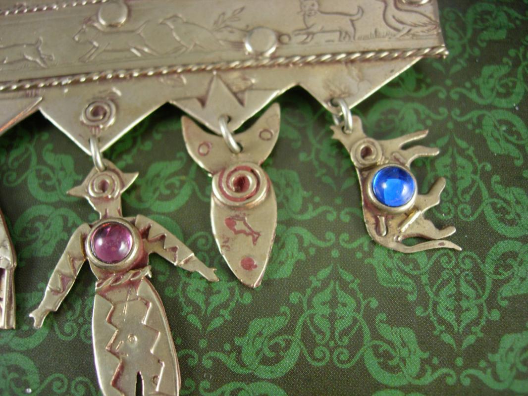 BIG Indian Fetish brooch Vintage signed Hand Wrought Southwestern charm Celebrations Tribal hamsa cow fish dog bird storytelling pin