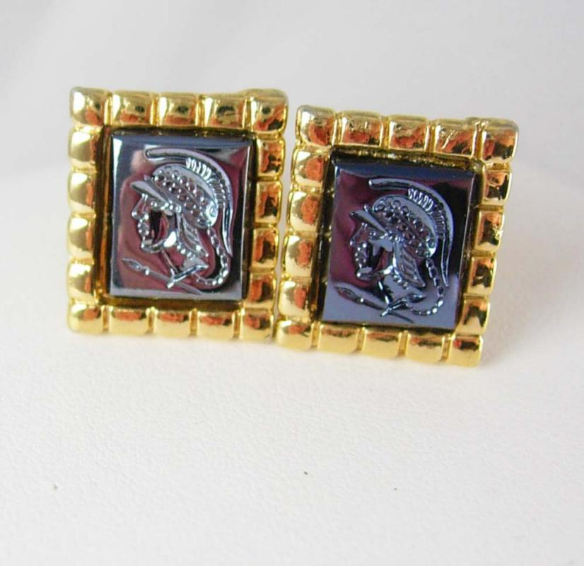 Vintage Intaglio Hematite cameo Cufflinks Roman warrior Centurion Medieval wedding renaissance Gold cameo theme Groom Gift cuff links