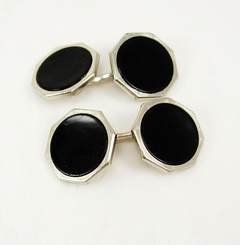 Vintage Black Silvertone Cufflinks Art Deco Enamel Design Tuxedo Wedding Birthday Business Signed Swank